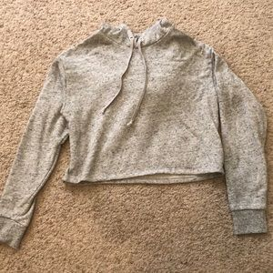 H&M Heather-gray Cropped Hoodie